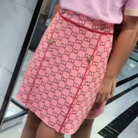 GUCCI New fashion more letter leopard head buckle sexy skirt Pink