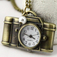 Retro camera Pocket watch charm Necklace with faux by qizhouhuang