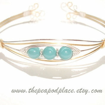 Two tone wire wrapped bracelet - Swarovski Jade Green or Ccoral Red - Peas in a Pod Jewelry - cuff bracelet - bangle