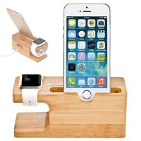 Bamboo Charging Dock Station Charger Holder Stand for Apple Watch iPhone iPads