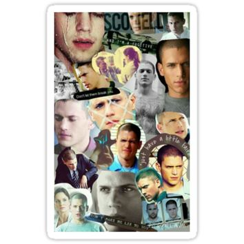 'Michael Scofield' Sticker by CHRYSANTHI PAPAVASILEIOU