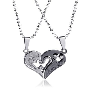 316L Stainless Steel Crystal Pendants Necklace Set Engrave I Love You Love Half Heart Shaped Couple Necklace for Lovers Couples