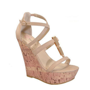 Strap Me In Wedge- Nude