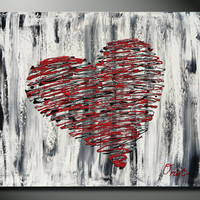 Red Heart Art, Original painting, Hearts, Red Heart, Heart painting, red painting, abstract red heart, I love you, texture art on canvas 20