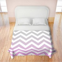 Duvet Cover Brushed Twill Twin, Queen, King from DiaNoche Designs by Monika Strigel Home Decor and Bedding Ideas - Chevron Pink Grey