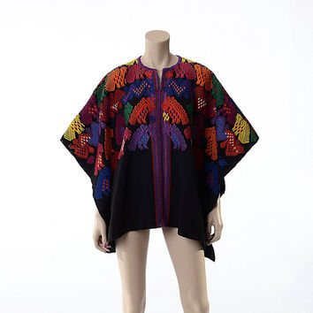 Vintage 70s Rainbow Embroidered Mexican Huipil Poncho Cape 1970s Oaxacan Artisan Festival Boho Gypsy Caftan Top Hippie Jacket / One Size