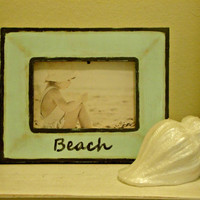 Medium 9 1/2 x 8 Hand Painted BEACH Picture Frame