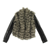 Guess Womens Faux Fur Faux Leather Sleeves Bomber Jacket