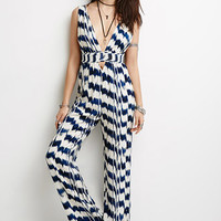 Brushstroke Stripe Deep-V Jumpsuit