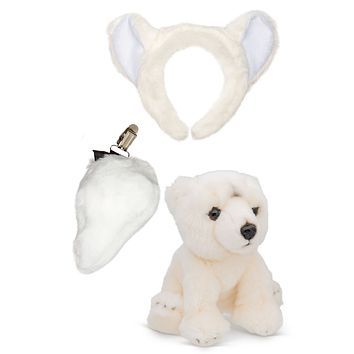 Stuffed Plush Polar Bear Ears Headband and Tail Set with Baby Plush Toy Polar Bear Bundle for Pretend Play Animals Dress Up