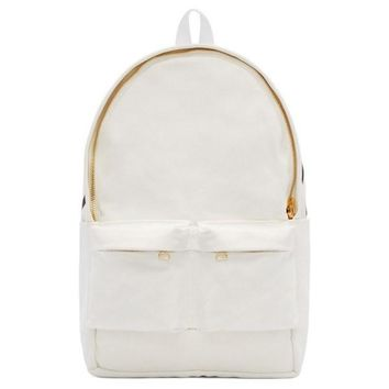 White Canvas Gold Accent Backpack by OFF WHITE