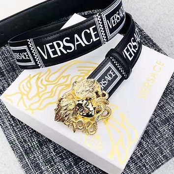 Versace New fashion human head buckle letter print leather couple belt
