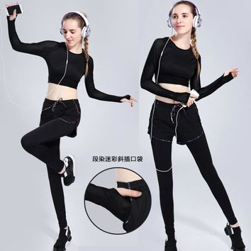 Fitness Suit Shirt+pants Women Yoga Clothes Breathable Running Long-sleeved Belly Dance Fake Two-piece Sports Quick dry Suit
