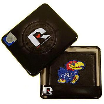 Kansas KU Jayhawks Embroidered Leather Billfold Wallet NEW in Gift Tin