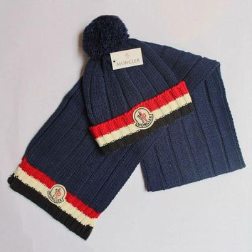 DCCK7HE Perfect Moncler Women Men Winter Knit Hat Cap Scarf Set Two-Piece