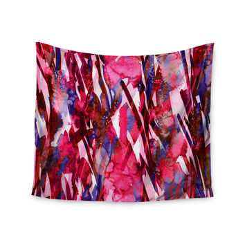 "Ebi Emporium ""Frosty Bouquet 5"" Maroon Abstract Wall Tapestry"
