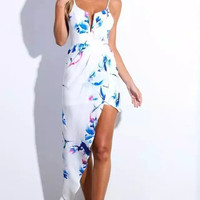 White Floral Strapp Dress