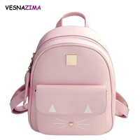 Hot Brand Backpack Cat Printing Mini School Bag for Girl Pink PU Leather