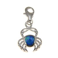 925 Sterling Silver Rhodium Hawaiian Crab Blue Opal Clasp Enhancer Pendant Charm