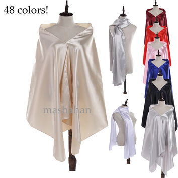 48 Colors !Satin Bridal Wedding Capes Wraps Shrugs Women's Formal Evening Dress Stole Bridesmaid Shawls(75inches*27inches)