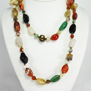 Polished Agate Rock Necklace 37 inch Opera Length Multi Colored Rope Necklace Vintage 1960's 1970's Jewelry Various Shapes & Size Stones