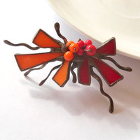 Stained glass brooch copper wire jewelry orange red