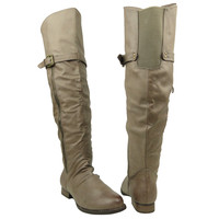 Womens Over The Knee Riding Boots Taupe