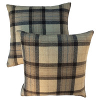 Scottish Wool Plaid  Pillows,    Pair