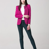 Rose Lace Embroidered Sleeve Blazer