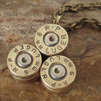 Bullet Jewelry Bullet Necklace 9mm Luger by ShellsNStuff