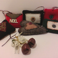Wool Heart Ornaments, Clean Handmade, Up-Cycled Fabric, Ornament, Christmas Ornaments, Vintage Ornaments, Red, Brown, Wool, One of a Kind,