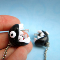 Mario inspired Chain Chomp earrings