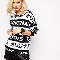 Adidas Orginals Hoodie With All Over Typo Print