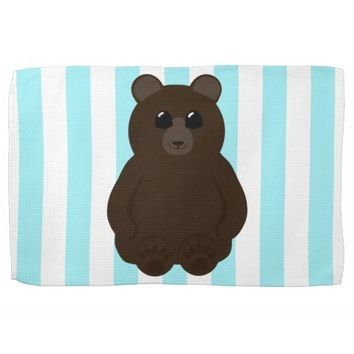 Cute Bear Drawing with Blue and White Stripes Towel