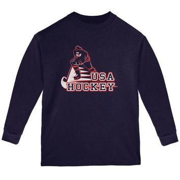 ONETOW Fast Hockey Player Country USA Youth Long Sleeve T Shirt