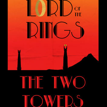 LOTR The Two Towers Minimalist Poster Art Print by Sean Breeding Arthouse