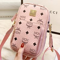 MCM New fashion more letter leather shoulder bag crossbody bag Pink