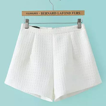 White Textured Mini Shorts