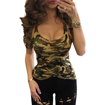 Women Tank Tops Sexy Sleeveless Tank Camouflage Army Green Women Summer Tops Tee Shirt LJ8896m