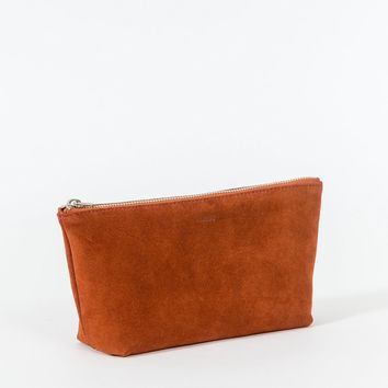 Small Leather Cosmetic Pouch Rust Suede
