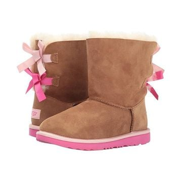 ugg fashion winter women cute bowknot flat warm snow ankle boots
