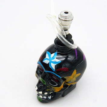 Hand-Painted Skull Head Hookah - Water Pipe - Black