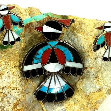 Zuni Inlay Brooch Earrings Set Thunderbird Turquoise Inlay