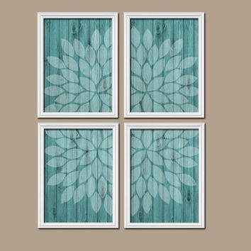 Wall Art Canvas Artwork Wood Grain Faded Turquoise Flower Burst Petal Design Set of 4 Prints Dahlia Bloom Flowers Bedroom Bathroom Decor