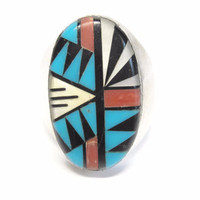 Men's Navajo Sterling Inlay Ring by John Delvin Size 13