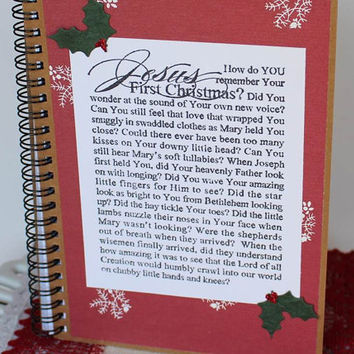 Stamped Jesus 1st Christmas spiral notebook prayer journal Christmas devotional book