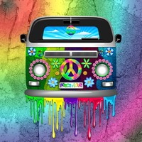 Hippie Van Dripping Rainbow Paint Art Print by BluedarkArt | Society6