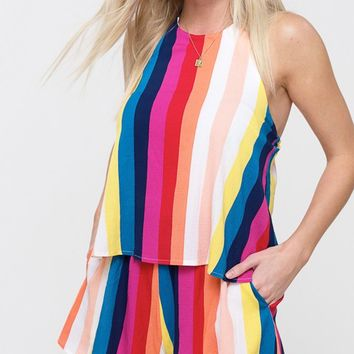 e90b5108eed6 Can t Get Enough Multicolor Vertical Stripe Pattern Sleeveless S