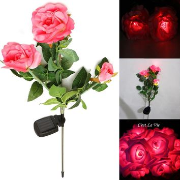 IP55 Waterproof Solar Power 3 Rose Flower LED Light Garden Outdoor Yard Path Park Lawn Lamp for Party Decorations