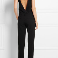IRO | Gennia open-back leather-trimmed crepe jumpsuit | NET-A-PORTER.COM